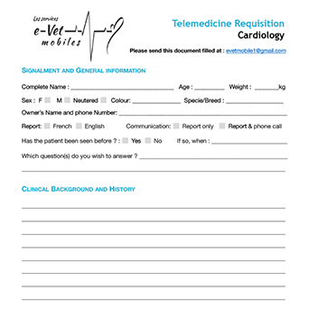 Cardiology telemedicine requisition form